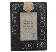 BLACK METAL LACE FRAME WITH FLOWER 4 X 6 INCH
