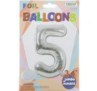 SILVER 5 MYLAR BALLOON 34 INCH