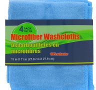 BLUE MICROFIBER WASH CLOTHS 4 PACK