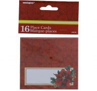 HOLLY POINTSETA PLACE CARDS 16 COUNT