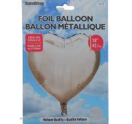 SILVER FOIL HEART SHAPE BALLOON 18 INCH