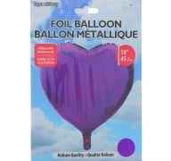 PURPLE FOIL HEART SHAPE BALLOON 18 INCH