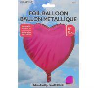 FUCHSIA FOIL HEART SHAPE BALLOON 18 INCH