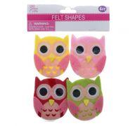 FELT CRAFT OWL 7 X 6.2 CM 4 PACK