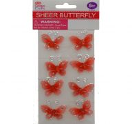 BUTTERFLY EMBELISHMENT 2.5 CN 8 PACK RED