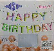SILVER HAPPY BIRTHDAY 7 INCH BANNER