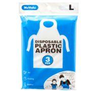 NUVALU DISPOSABLE PLASTIC APRON 3 PC LARGE 27.5&ampquot X 37.4&ampquot