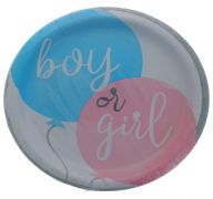 GENDER REVEAL 9 INCH PLATE 8 COUNT