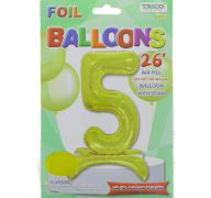 # 5 GOLD BALLOON WITH STAND 26 INCH