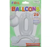 # 0 SILVER BALLOON WITH STAND 26 INCH