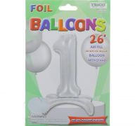 # 1 SILVER BALLOON WITH STAND 26 INCH