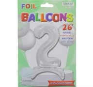 # 2 SILVER BALLOON WITH STAND 26 INCH