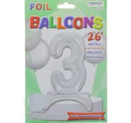 # 3 SILVER BALLOON WITH STAND 26 INCH