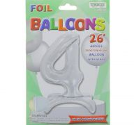 # 4 SILVER BALLOON WITH STAND 26 INCH