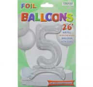 # 5 SILVER BALLOON WITH STAND 26 INCH