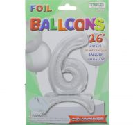 # 6 SILVER BALLOON WITH STAND 26 INCH