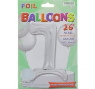 # 7 SILVER BALLOON WITH STAND 26 INCH
