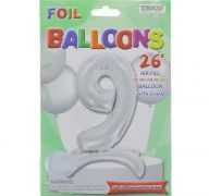 # 9 SILVER BALLOON WITH STAND 26 INCH