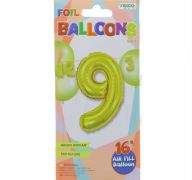 #9 GOLD 16 INCH AIR FILLED BALLOON