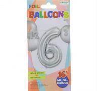 #6 SILVER 16 INCH AIR FILLED BALLOON
