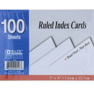 Ruled White Index Card 3X5IN