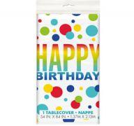 RAINBOW SPOT BIRTHDAY PLASTIC TABLE COVER