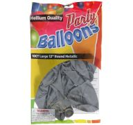 Silver 12 In Large Latex Party Balloons 5 Count