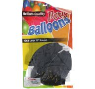 Black 12 In Large Latex Party Balloons 5 Count